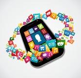 Aplicações do móbil de Smartphone Foto de Stock Royalty Free
