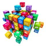 Aplicações e conceito móveis da tecnologia dos meios Fotografia de Stock Royalty Free