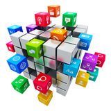 Aplicações e conceito móveis da tecnologia dos meios Imagens de Stock Royalty Free