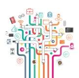 Aplicações empresariais e vetor dos ícones Imagens de Stock Royalty Free