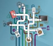 Aplicações empresariais e vetor dos ícones Foto de Stock Royalty Free