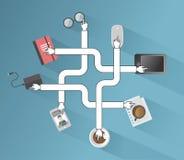 Aplicações empresariais e vetor dos ícones Imagem de Stock Royalty Free