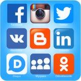 Aplicações sociais dos trabalhos em rede no ar do iPad de Apple Imagem de Stock