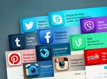 Aplicações sociais populares dos trabalhos em rede Foto de Stock