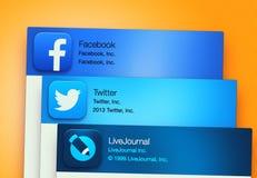Aplicações sociais populares dos trabalhos em rede Fotografia de Stock
