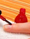 Aplicación de esmalte de uñas rojo, clavos manicured de la mujer Foto de archivo