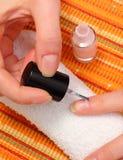 Aplicación de esmalte de uñas rosado, clavos manicured de la mujer Fotografía de archivo