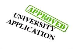 Aplicación de la universidad APROBADA imagen de archivo