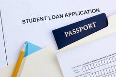 Aplicación de préstamo del estudiante Imágenes de archivo libres de regalías