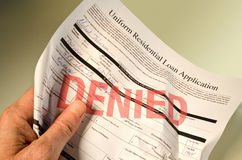 Aplicación de préstamo negada arrugada a disposición Imagen de archivo