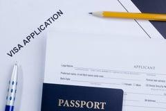 Aplicación de visa Foto de archivo libre de regalías