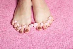 Aplicación del pedicure del pie Imagen de archivo libre de regalías