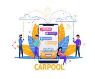 Aplicación móvil del Carpool Planeamiento del paseo en charla ilustración del vector