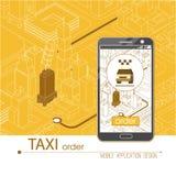 Aplicación móvil del servicio del taxi Ciudad y coche isométricos en el teléfono elegante en el teléfono elegante Navegue el uso Imagen de archivo libre de regalías