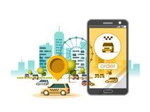Aplicación móvil del servicio del taxi Rascacielos de la ciudad que construyen horizonte con el coche en el teléfono elegante Nav Foto de archivo libre de regalías