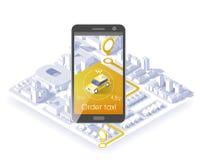 Aplicación móvil del servicio del taxi Ciudad y coche isométricos en el teléfono elegante Navegue el uso Ilustración del vector Fotografía de archivo