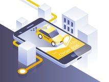 Aplicación móvil del servicio del taxi Ciudad y coche isométricos en el teléfono elegante Navegue el uso Ilustración del vector Fotos de archivo