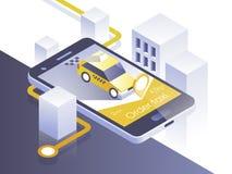 Aplicación móvil del servicio del taxi Ciudad y coche isométricos en el teléfono elegante Navegue el uso Ilustración del vector Fotografía de archivo libre de regalías