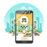 Aplicación móvil del servicio del taxi Rascacielos de la ciudad que construyen horizonte Foto de archivo