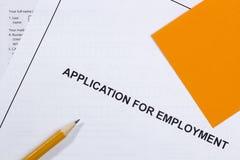 Aplicación para el empleo Foto de archivo libre de regalías