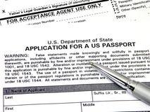 Aplicación para un pasaporte de los E.E.U.U. Fotografía de archivo