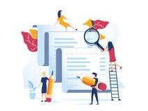 Aplicación un control, desciframiento del concepto de un documento para la presentación de la bandera de la página web, medio soc stock de ilustración