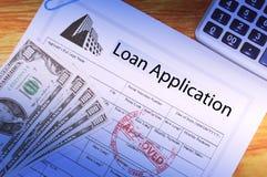 Aplicación de préstamo Foto de archivo libre de regalías