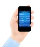 Aplicación móvil de las actividades bancarias Foto de archivo