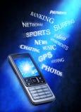 Aplicaciones de la tecnología del teléfono celular Imagen de archivo