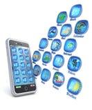 Aplicaciones del teléfono móvil 3d en el fondo blanco ilustración del vector