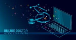 Aplicaciones móviles médicas en línea del doctor app Bandera del concepto de la diagnosis de la medicina de la atención sanitaria stock de ilustración