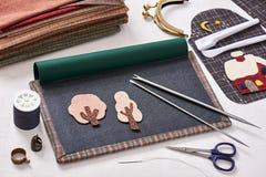 Aplikacj narzędzia dla tkaniny i szczegółu aplikacja Zdjęcie Stock