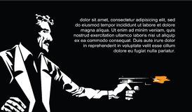aplikacyjny bw jeleni ilustracyjny drzewa wektor Szablon ulotki Sin City przyjęcie Z pistoletem mężczyzna Zdjęcie Royalty Free