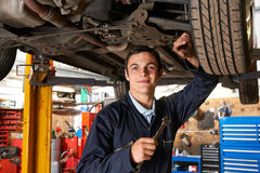 Aplikanta mechanik Pracuje Na samochodzie zdjęcia stock