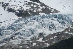 Apline glacier on Montblanc hiking route Royalty Free Stock Photo