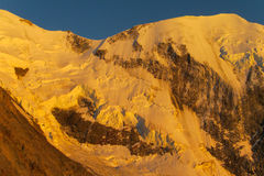 Apline glacier on Montblanc hiking route at sunset Royalty Free Stock Images