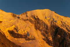 Apline glacier on Montblanc at sunset Royalty Free Stock Photography
