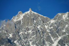 Apline rocky and snow mountain on Montblanc hiking route Stock Photography