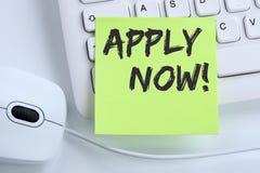Aplique agora trabalhos, conce de trabalho do negócio dos empregados do recrutamento do trabalho imagem de stock