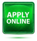Aplique el botón cuadrado verde claro de neón en línea stock de ilustración