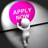 Aplique las demostraciones ahora presionadas Job Opening And Application Fotografía de archivo libre de regalías