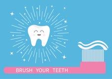 Aplique sus dientes con brocha Icono del diente Cepillo de dientes grande con crema dental ilustración del vector