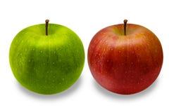 aplle πράσινο απομονωμένο κόκκινο λευκό δύο ανασκόπησης μήλων Στοκ Εικόνα