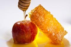 Aplle en honing Stock Foto's