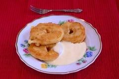 Aplle fritado com baunilha Imagem de Stock