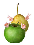 Aplle and pear characters Stock Photo