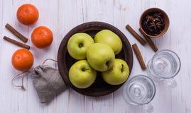 Aplles et mandarines avec l'épice Images libres de droits