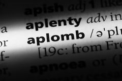 Aplomb. Word in a dictionary.  concept Royalty Free Stock Photography