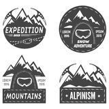 Aplpinism. Set of mountain explorer labels Royalty Free Stock Photos