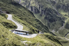 Apls Bus. Mountains and road Royalty Free Stock Photo